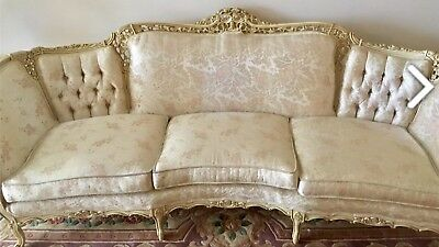 French Provincial Sofa   Carved Wood Trim With Soft Pink Highlight Fabric