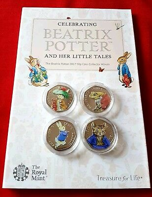 Beatrix Potter 50p 2017 Coins Full set Uncirculated Coloured PETER RABBIT Tom