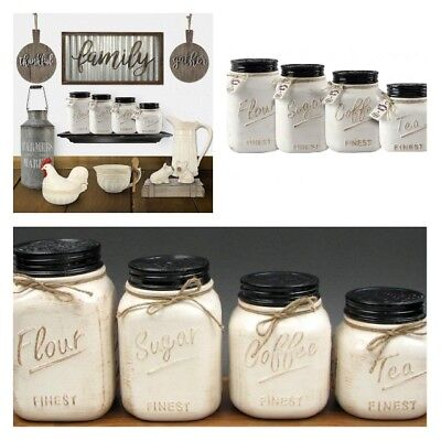 Ceramic Kitchen Canister Set Of 4 Mason Jars Vintage Flour Sugar Coffee Tea