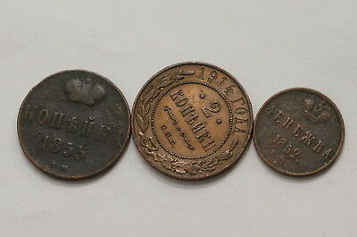 Russia 3 Old Kopeks Coins A98 Rv18