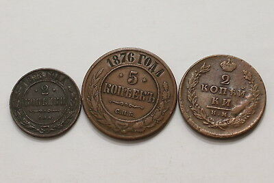 Russia 3 Old Kopeks Coins A98 Rt7