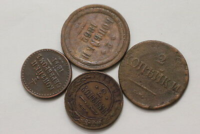 Russia 4 Old Copper Coins A98 Rw44