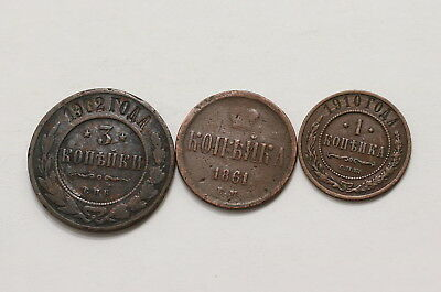 Russia 1 + 3 Kopeks - 3 Old Coins A98 Rcc32