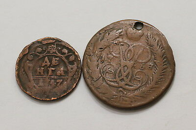Russia 2 Old Coins Xviii Century A98 Rbbb22