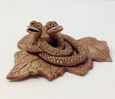 Vintage 2 SNAKES on a LEAF-Pottery Ceramic Figurine Ornament. c1970's