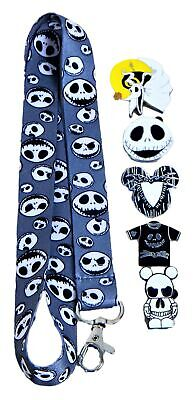 Jack Skellington Nightmare Before Christmas Lanyard Set with 5 Disney Pins (NEW)