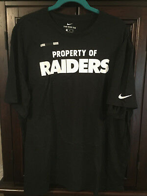 NIKE TEE Oakland Raiders Mens T-shirt Black White Property Of Raiders NFL 167584fc7