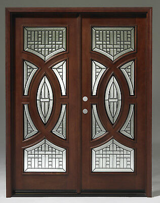 SUMMER SALE!!Solid Wood Mahogany Front Unit Pre-hung &Finished DMH7588-5 GL18