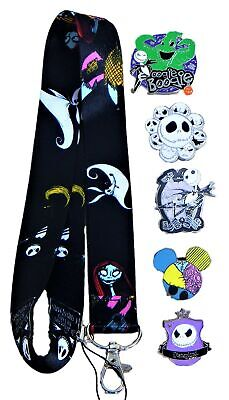 Nightmare Before Christmas Jack Skellington Lanyard Set with 5 Disney Pins ~ NEW
