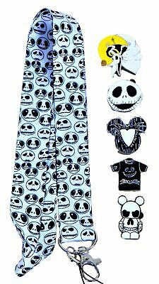 Nightmare Before Christmas Jack Skellington Lanyard Set with 5 Disney Pins (NEW)