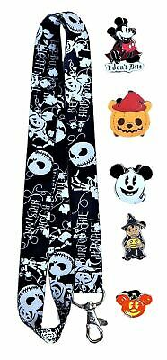 Halloween Themed Lanyard Set with 5 Walt Disney World Park Trading Pins - NEW
