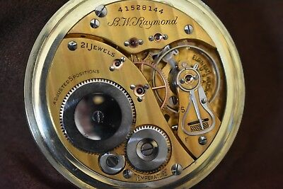 16s Railroad Grade Elgin B.W. Raymond 21j Pocket Watch