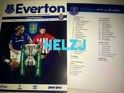 Mint Everton V Southampton Carabao League Cup Program And Team Sheet 02/10/18