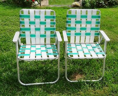 PR Vintage Aluminum Folding Webbed Lawn Chair White Green Metal Arms