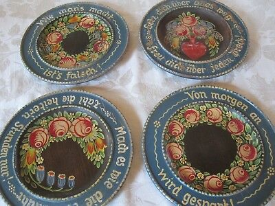 Set 4 Vintage Antique German Folk Art Hand Painted Wood Plates Blk Forest As Is