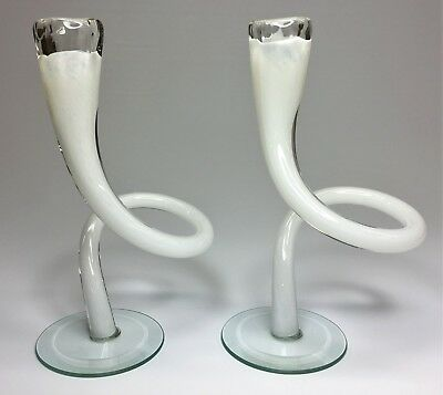 """Pair of Vintage White 7 1/2"""" Tall Twisted Art Glass Candlestick Candle Holders"""