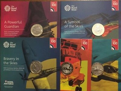 2018 UK RAF £2 Full Set Of 5 Coins BU Mint Condition With Presentation Pack