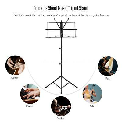 Adjustable Folding Sheet Music Tripod Stand Holder Heavy Duty Black+Case S0E3
