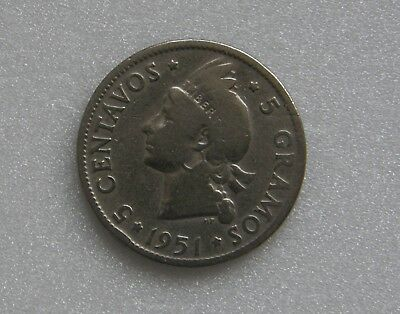Dominican Republic Coin 5 Cents Centavos 1951 21mm