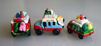 "3 Colombian Clay Terracotta ""Chivas"" Bus Folk Art  MINIATURES"