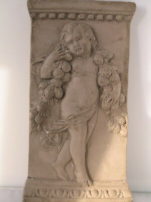 Cast French 18th C. Style Bas Relief Sculpture Draped Putto / Cherub Angel