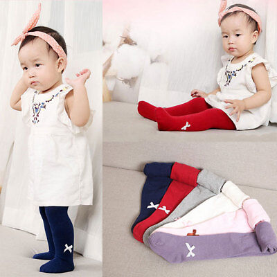 0~4 Years Warm Baby Infant Kids Toddler Girl Lovely Bow Cotton Leggings