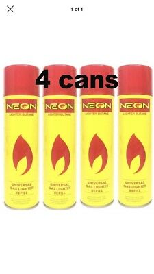 4X NEON ULTRA REFINED BUTANE GAS FILTERED LIGHTER REFILL FUEL w/ 5 Adapters