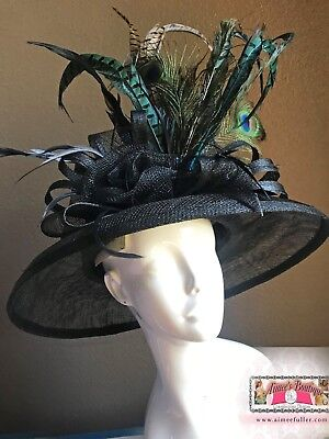9989771bd8d69 BLACK FASCINATOR, KENTUCKY derby fascinator , Melbourne cup hats ...