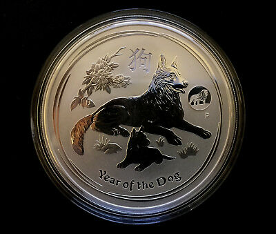 2018 1 oz Lunar Year of the Dog 9999 Silver Bullion Coin Lion Privy Perth Mint