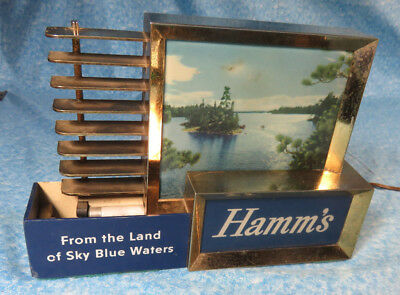 """Vintage """"From The Land of Sky Blue Waters""""  Hamms Beer Lighted Counter Sign"""