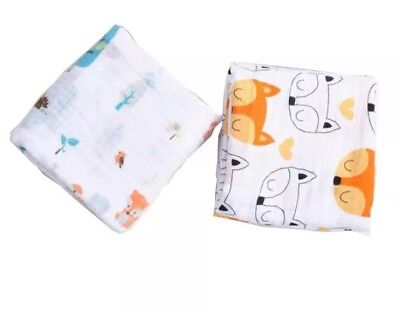 100% Organic Muslin Cotton fitted crib sheets set (2 pack) NEW