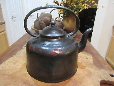 Antique Metal Tea Kettle, Black Red Paint