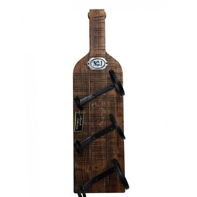 Natural Wood Wine Bottle Holder Wall Art | Rustic Home Decor Indoor Ornament