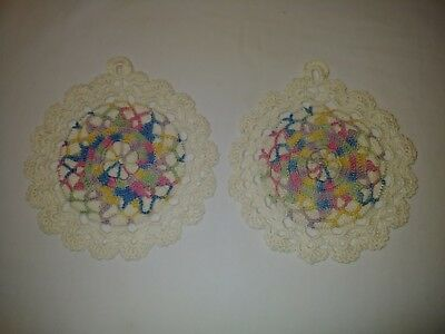 Vintage Pair Multi Color Crocheted Pot Holders Hot Pads 33B
