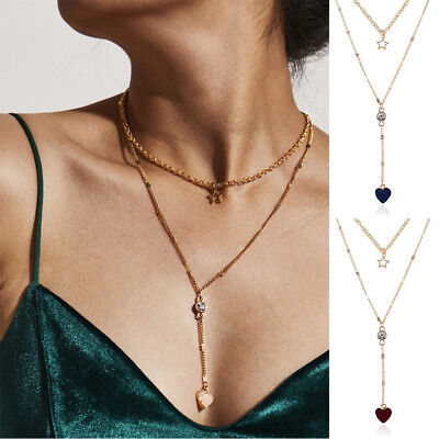 Womens Alloy Long Necklace Heart Pendant Sweater Chain Two-Double Star Jewelry