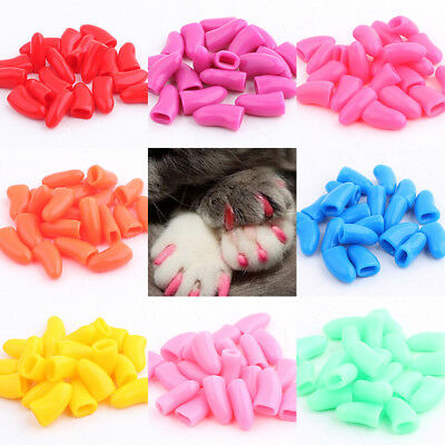 20Pcs/Set Simple Soft Rubber Pet Dog Cat Paw Claw Control Nail Caps Cover New