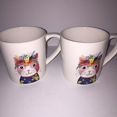 RAE DUNN by Magenta  New 2 Cup Set Floral Cats Mugs.