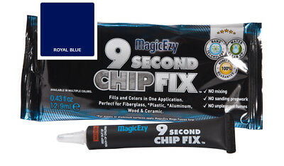 MagicEzy 9 Second Chip Fix: Fill & Color Gelcoat  Damage Fast (Royal Blue)