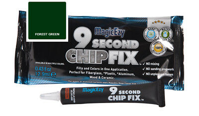 MagicEzy 9 Second Chip Fix: Fill & Color Gelcoat  Damage Fast (Forest Green)