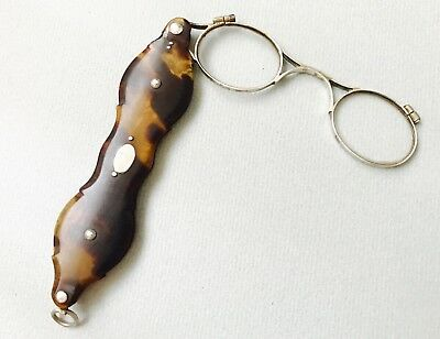Antique Silver And Faux Tortoise Shell lorgnette  19th Century