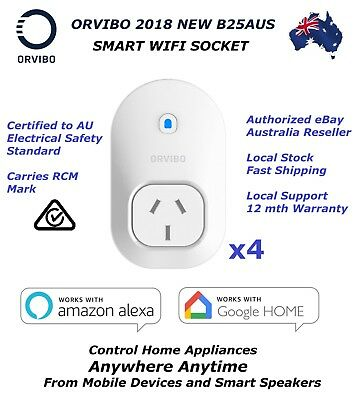 4x ORVIBO B25AUS Smart WiFi Socket Remote Control via Mobile/Alexa/Google Home