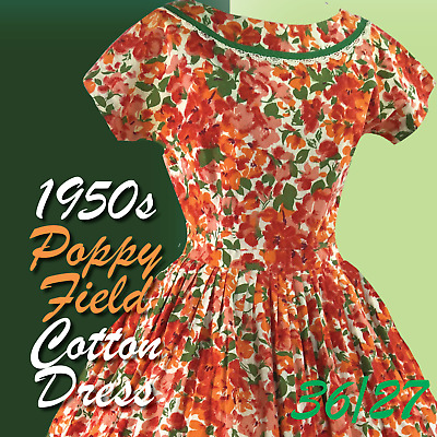 Original 1950s Vibrant Orange Poppies Cotton Dress - 50s Floral Dress