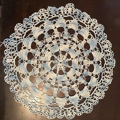 Vintage Hand Crocheted Pale & Light Blue Round Doily 33cm Diameter