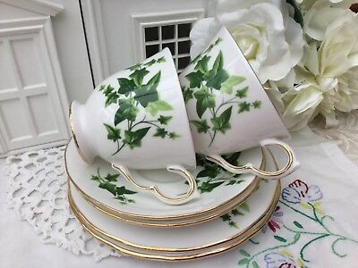 ROYAL VALE 1960s TRIO CUP SAUCER PLATE SET GREEN IVY GILDED BONE CHINA 2 FOR £19
