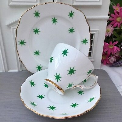 ROYAL VALE 1950s TRIO SET CUP SAUCER PLATE EMERALD GREEN STARS GILDED BONE CHINA
