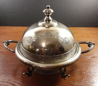 Antique Meriden B. Co Butter Dish Bowl Lid Quadruple Silver Plate