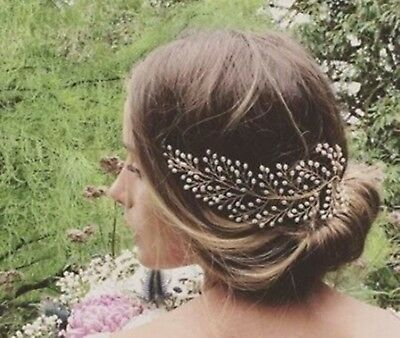 Women Party Prom headpiece Bride wedding Rice Pearl Comb hair Head accessory