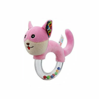 Baby Rattle Plush Stuffed Animal Cat Shaker Toy Ring Rattle with Clear Ring Pink