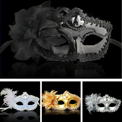 Lace Flower Feather Venetian Masquerade Ball Carnival Eye Mask Party Costume UK