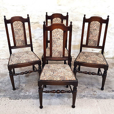 Jacobean Style Oak High Back Tapestry Upholstered Set of 4 Dining Chairs